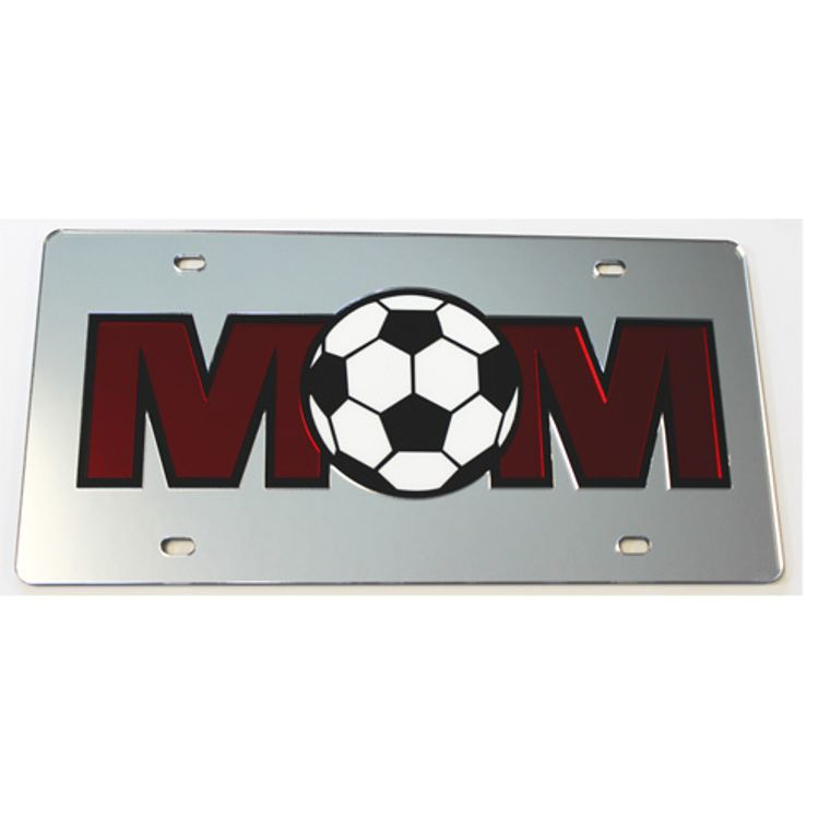 License Plate Soccer Mom Mirrored Acrylic Car Tag