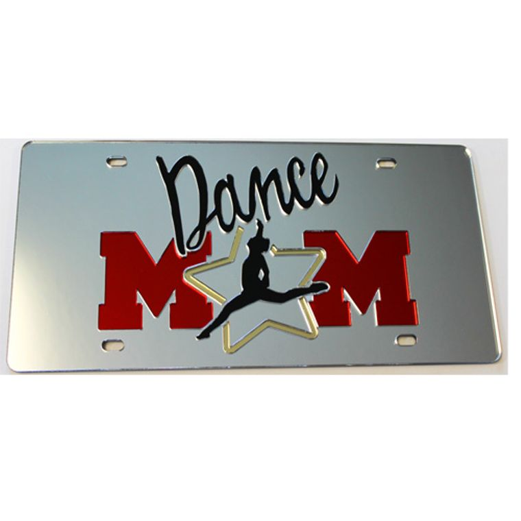 License Plate Dance Mom Mirrored Acrylic Car Tag