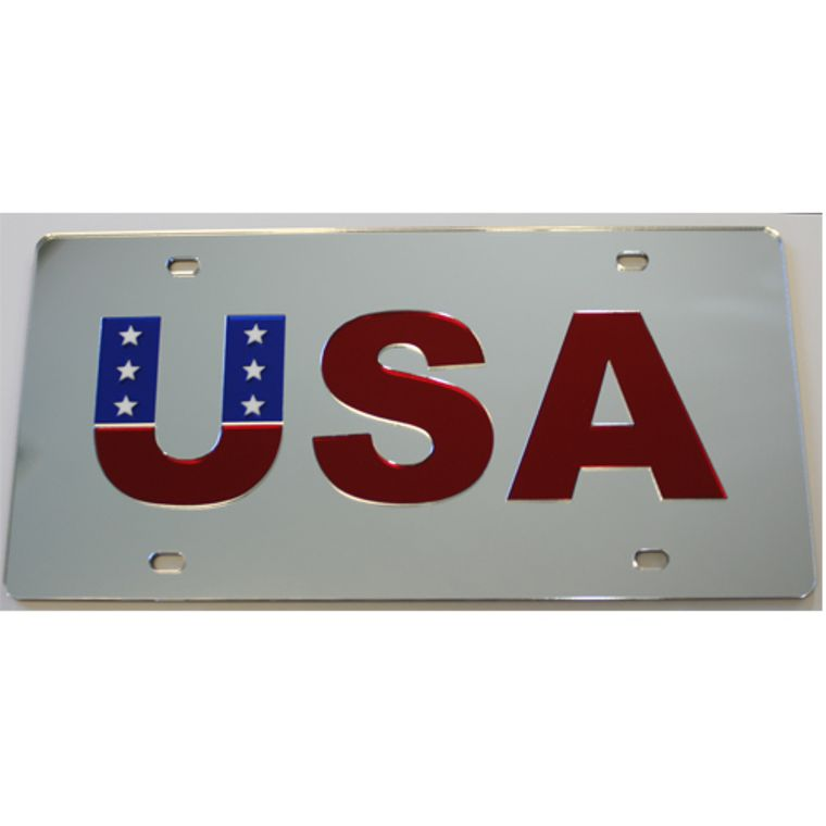 License Plate USA Mirrored Acrylic Car Tag
