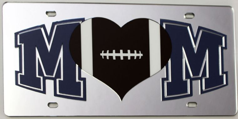 License Plate Football Mom Mirrored Acrylic Car Tag