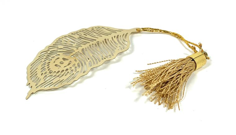 Feather Bookmark with Tassel Golden Finish Set of 4