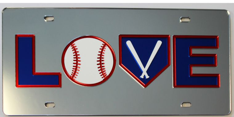 License Plate Baseball Love With Bats Mirrored Acrylic Car Tag
