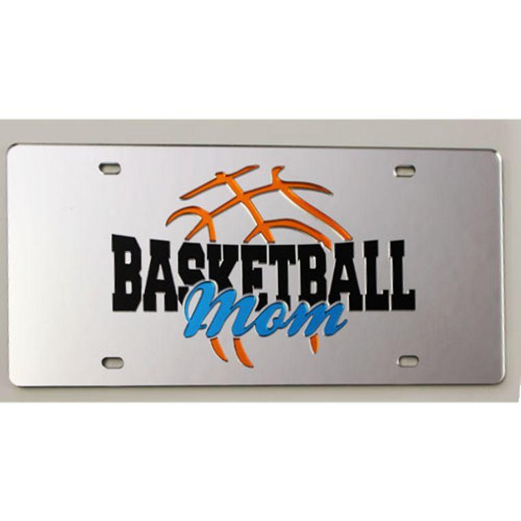 License Plate Basketball Mom Mirrored Acrylic Car Tag