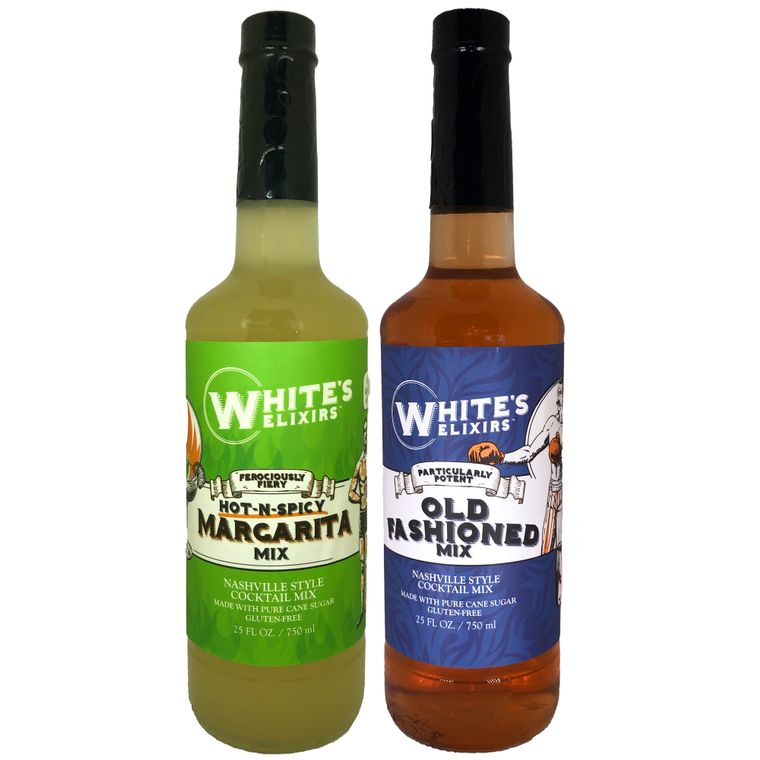 White's Elixirs Old Fashioned & Spicy Margarita Mix (6 Bottles Each)