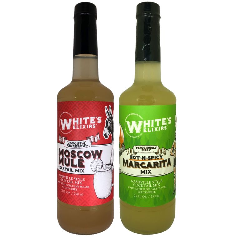 White's Elixirs Moscow Mule & Spicy Margarita Mix (6 Bottles Each)