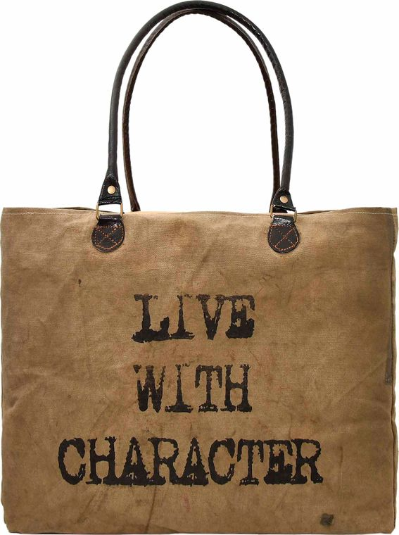Live with Character Recycled Military Tent Market Tote
