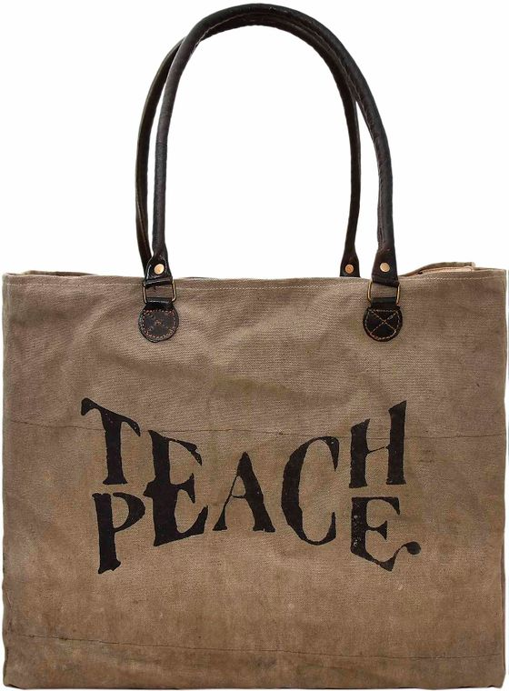 Teach Peace Recycled Military Tent Market Tote