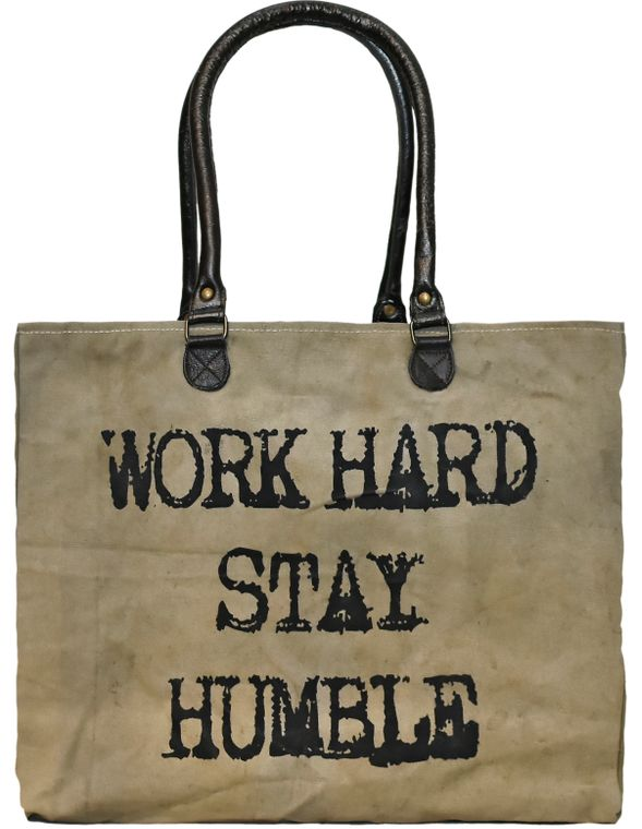 Work Hard Stay Humble Recycled Military Tent Market Tote
