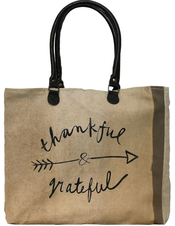 Thankful & Grateful Recycled Military Tent Market Tote