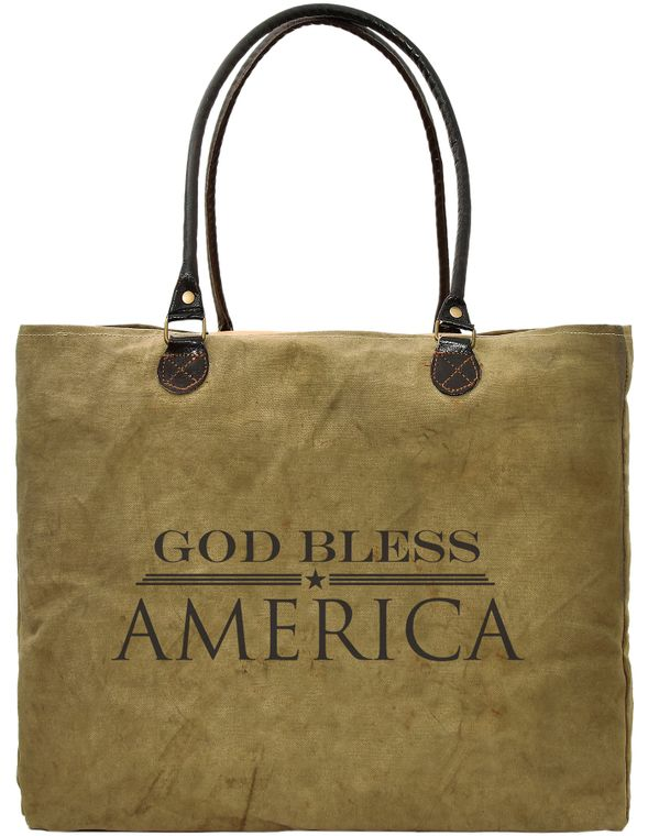 God Bless America Recycled Military Tent Market Tote