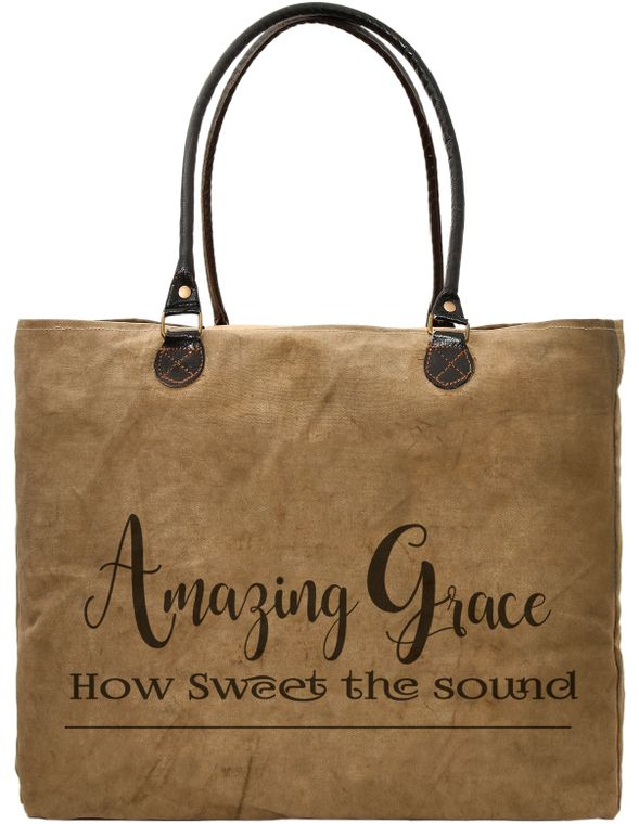 Amazing Grace Recycled Military Tent Market Tote