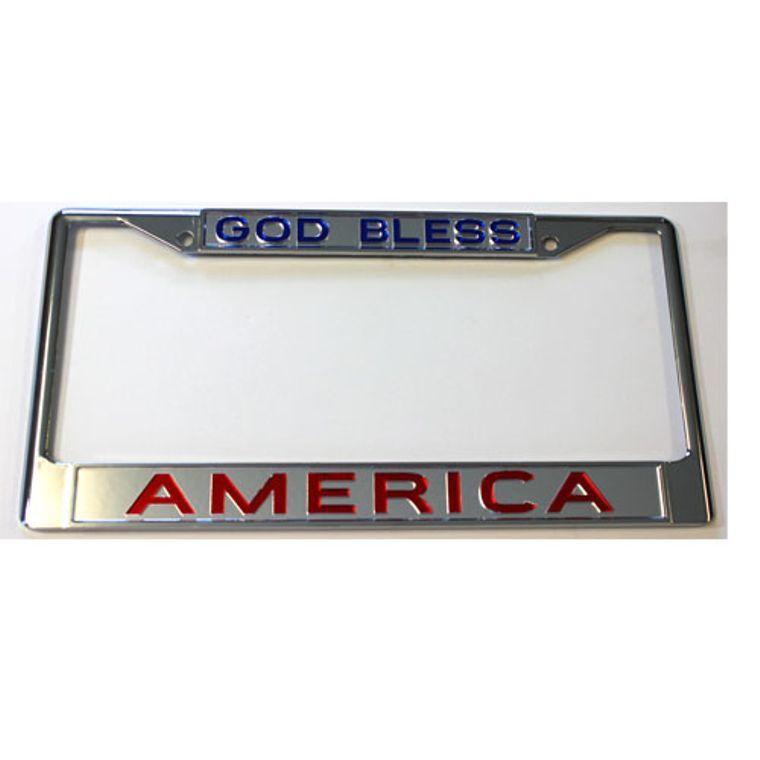License Plate Frame God Bless America Chrome  w Mirrored Inlaid Acrylic Car Tag