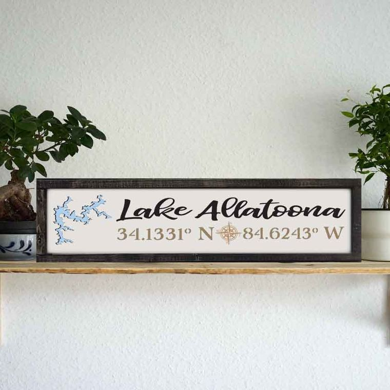 "24""x6"" ""Any Lake"" Coordinate Sign"