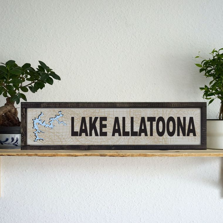 "24""x6"" ""Any Lake"" Name w Compass Background"