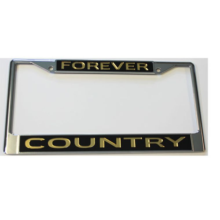 License Plate Frame Forever Country Chrome  w Mirrored Inlaid Acrylic Car Tag
