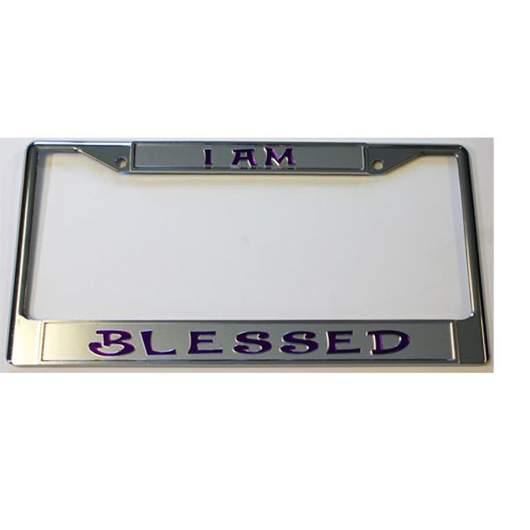 License Plate Frame I Am Blessed Chrome w Mirrored Inlaid Acrylic Car Tag