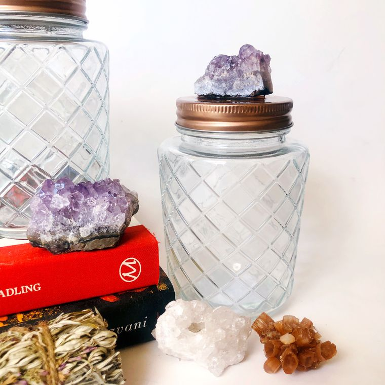 Amethyst stash jar, decorative jar for home, alter jar for moon water.