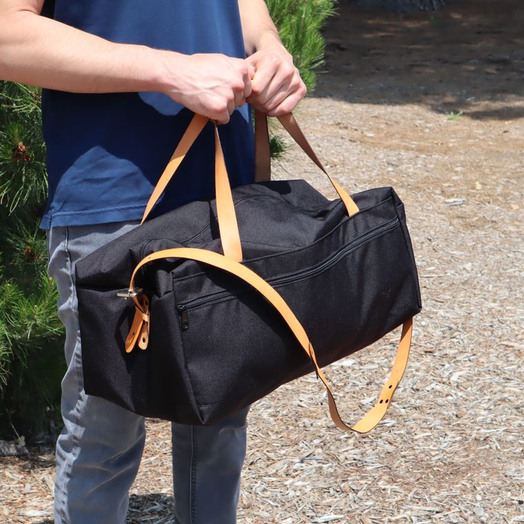 Duffel Bag with Leather Straps / Travel Bag/ Gym Bag / Made with 1000D Cordura Nylon
