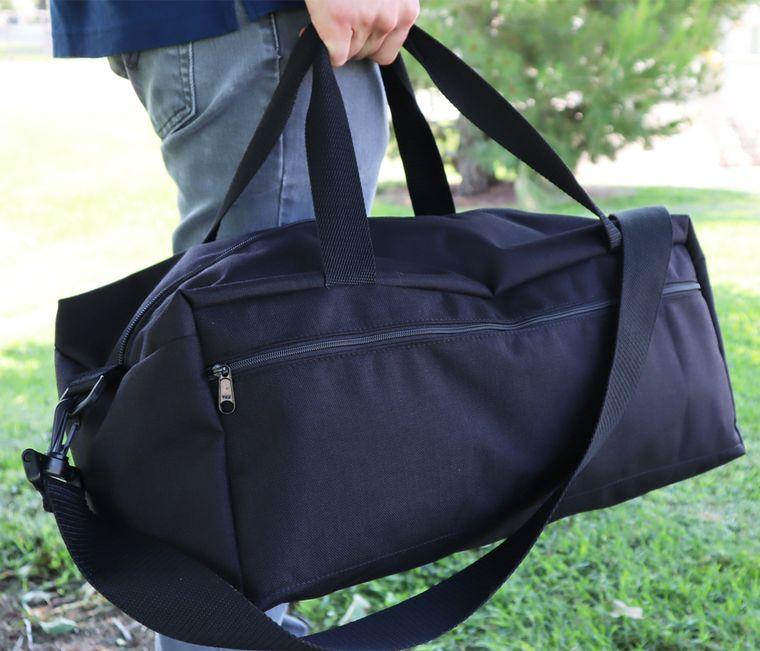 Men's 1000d Cordura Nylon Duffel Bag, Black Canvas Duffel Bag with Side Zippers/ Shoulder Strap