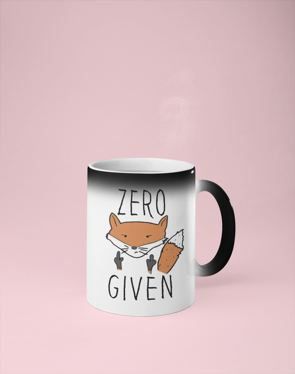 Zero Fox Given  - Color Changing Mug - Reveals Secret Message w/ Hot Water - Adult Humor