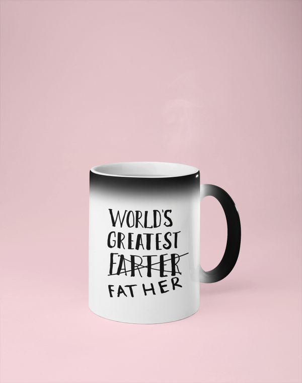 World's Greatest Farter/Father -  Color Changing Mug - Reveals Secret Message w/ Hot Water