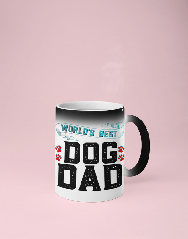 World's Best Dog Dad - Color Changing Mug - Reveals Secret Message w/ Hot Water
