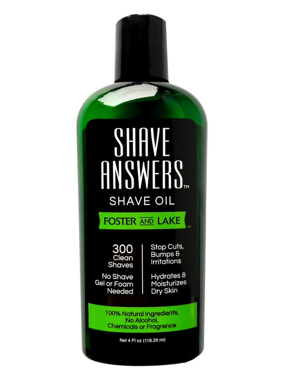 Shave Answers Shave Oil (4 oz) Unscented & with all natural Coconut oil