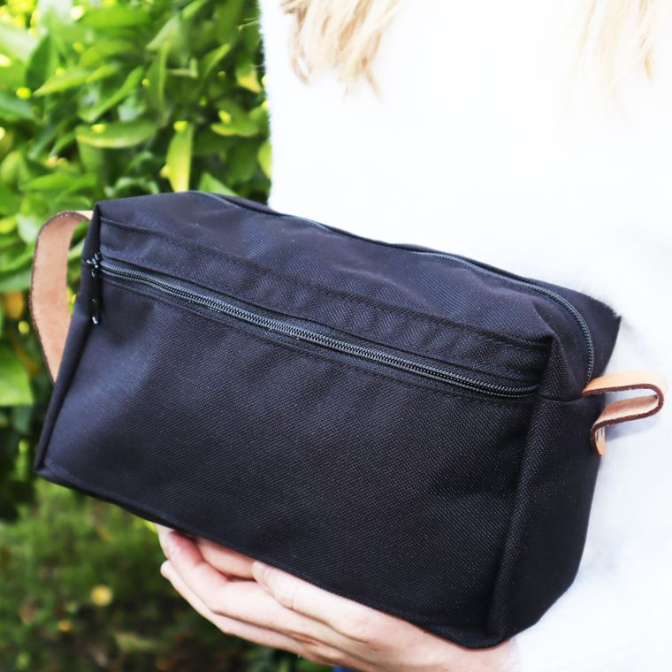 Toiletry Bag with Leather Straps / Shaving Bag/Dopp Kit / Bathroom Organizer / Travel Bag