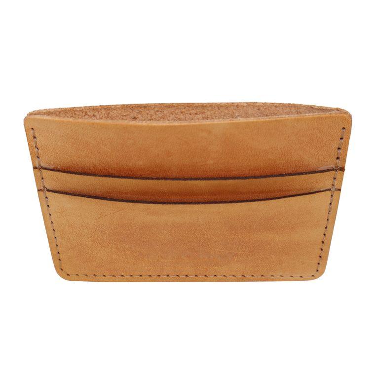 Men's / Women's Leather Card Holder Wallet, Genuine Vegetable Tanned Full Grain Leather (Tan)
