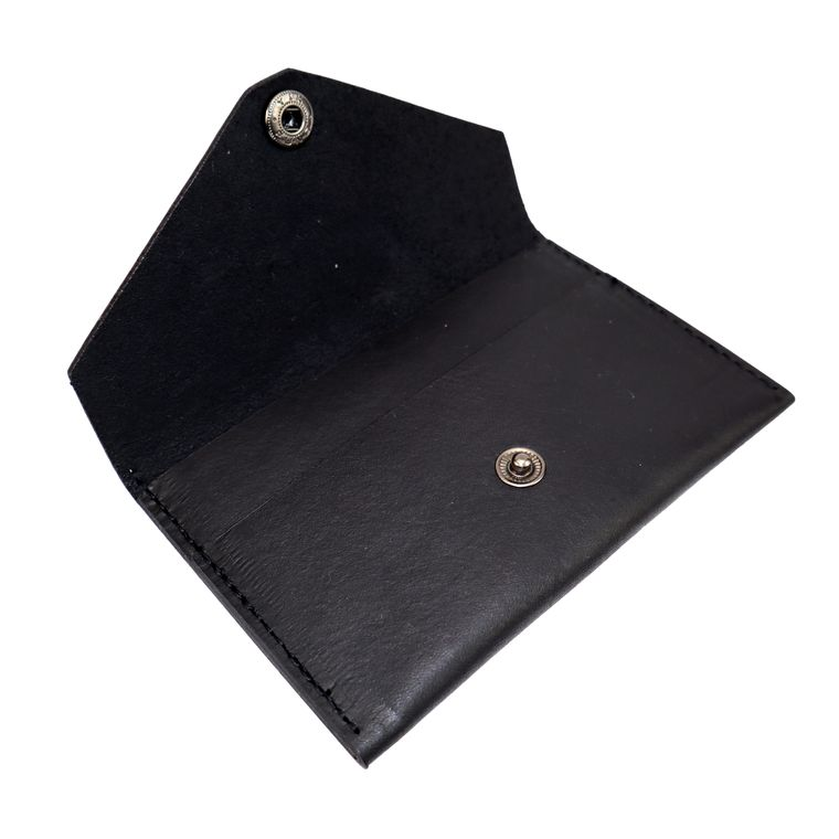 Women's Leather Cash/ Coin / Card Pouch Snap Wallet, Black, Tan Leather Women's Wallet (Black)