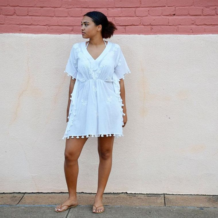 White Embroidery pure cotton  Kaftan/cover up