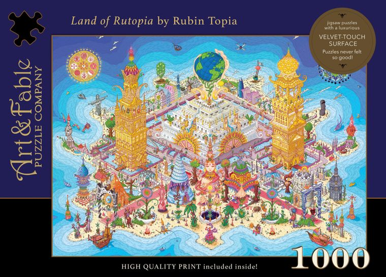 NEW! Land of Rutopia; 1000-pc Velvet-Touch Jigsaw Puzzle by Amsterdam artist Ruben Topia