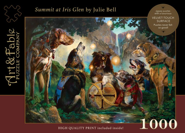 NEW! Summit at Iris Glen; 1000-pc Velvet-Touch Jigsaw Puzzle featuring the art of Julie Bell