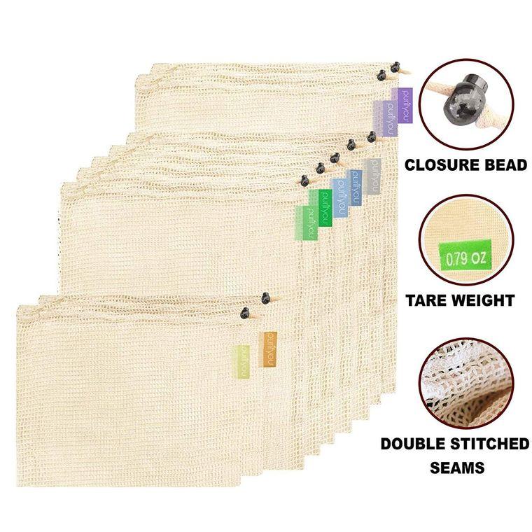 purifyou Premium Reusable Mesh/Produce Bags, Set of 9   Raw, Organic, Unbleached Cotton   Double-Sti
