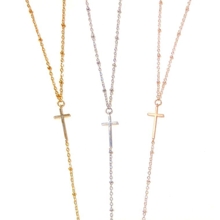 Cross Lariat-Rose Gold