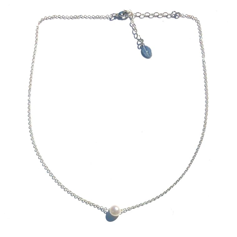 Floating Pearl Necklace-Silver