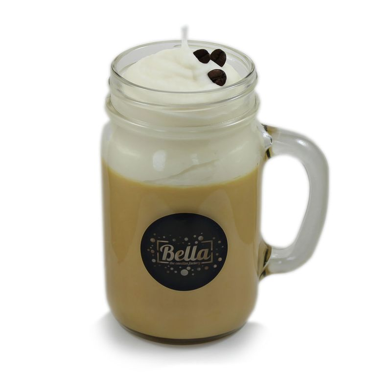 Coffee Stop Scented Handle Jar Candle - Cappuccino Espresso Scent