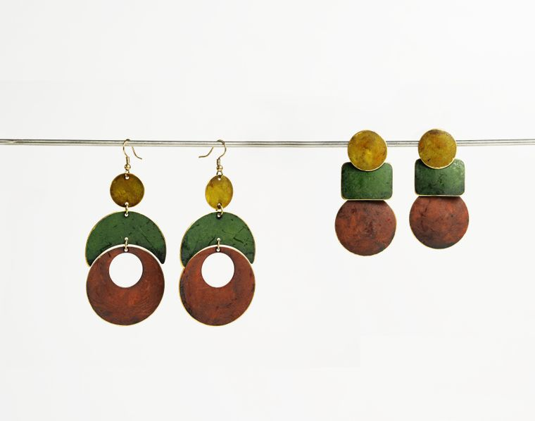 Patina Earrings - Olive Collection