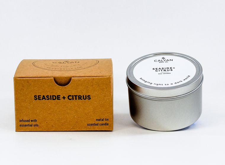 Metal Tin Soy Candle - Seaside + Citrus