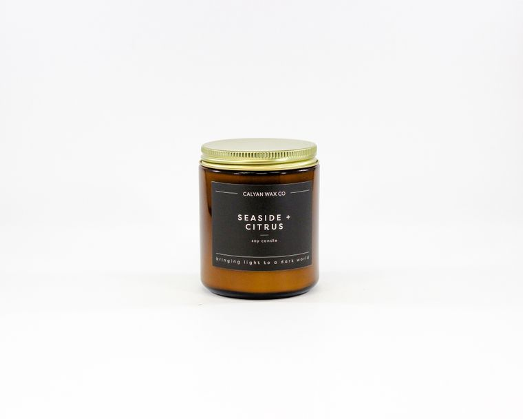 Amber Jar Soy Candle - Seaside/Citrus