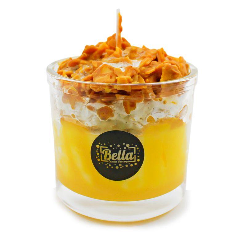Crunchy Munchies Yellow Dessert Glass Jar Candle - Pumpkin Pecan Waffles