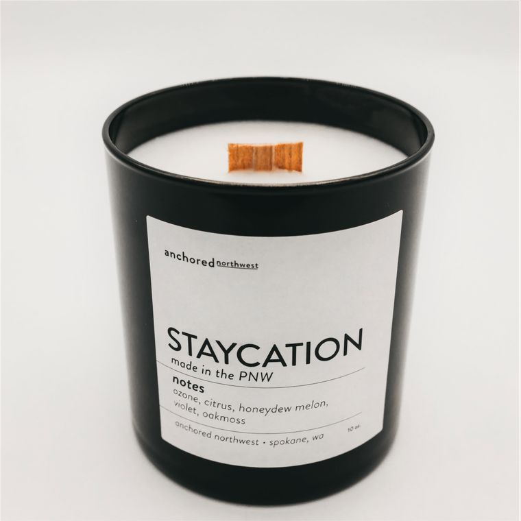 Staycation - Black Tumbler w/ lid