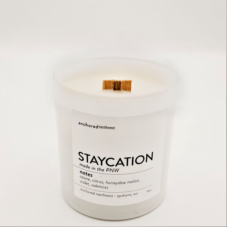 Staycation - White Tumbler w/lid