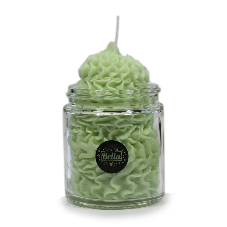 Green Whipped Cream Soy Dessert Jar Candle- Lemongrass