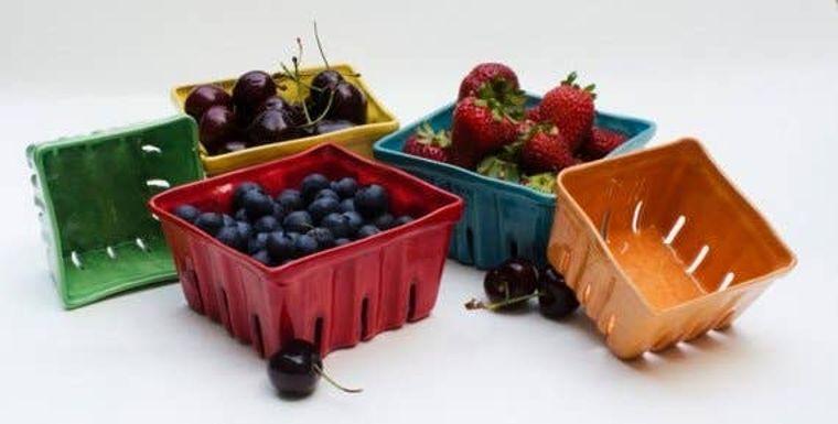 Large Ceramic Berry Baskets - turquoise