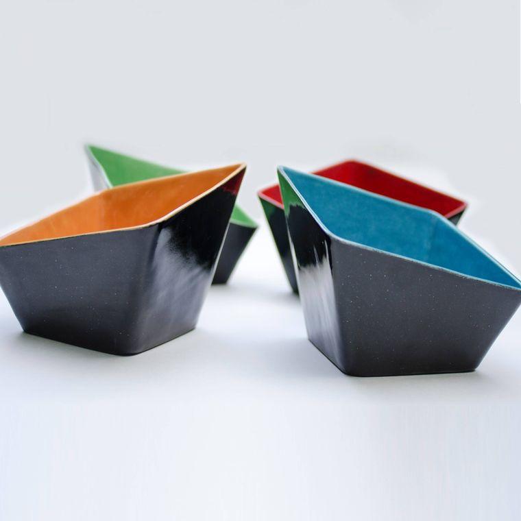 Square Slant Bowl - Orange