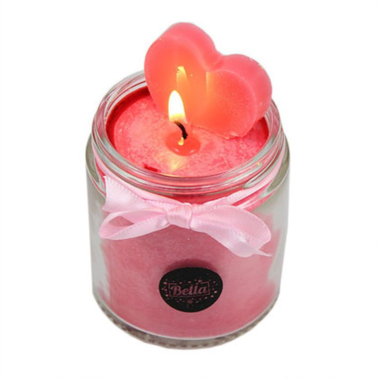 Victoria Pink Heart Soy Dessert Jar Candle - Black Cherry