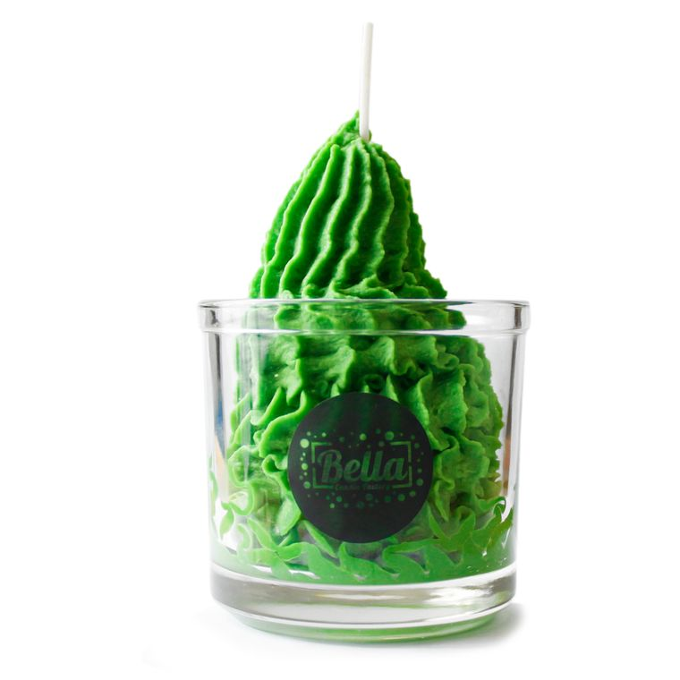 Strong Green Whipped Cream Soy Dessert Jar Candle - Lemongrass