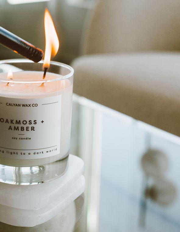 Glass Tumbler Soy Candle - Oakmoss / Amber