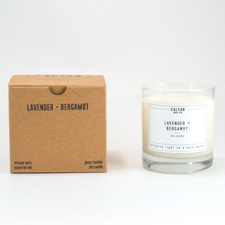 Glass Tumbler Soy Candle - Lavender / Bergamot